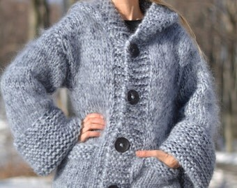 READY handmade mohair cardigan hand knitted mohair coat chunky mohair cardigan thick hooded light gray long soft warm with pockets Dukyana