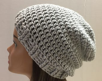 Grey Slouchy Beanie,  Gray  slouchy hat,  Teen or Adult Trendy Beanie, Snow Hat, Ready to Ship, Winter wear Tam