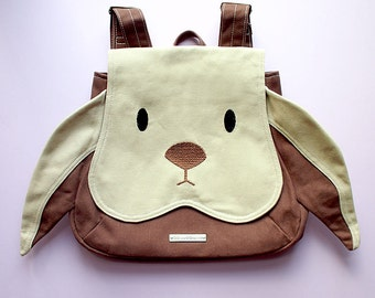 RABBIT Backpack, Bunny Bag, Petite Harajuku Ladies Backpack, Kids Backpack, Small Backpack, Cosplay Backpack, BEIGE BROWN Bunny Rabbit