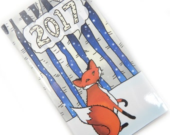 2017 planner - Winter Fox - cute pocket planner - 2017 calendar - date book - snowy woodland aspens - office gift - one year mini planner