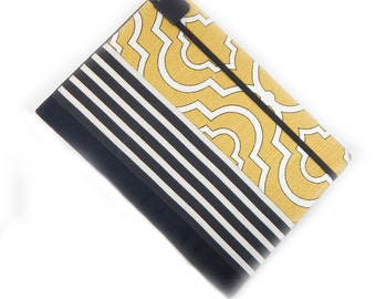 iPad Air cover - Modern Mix - hardcover iPad case - mustard black and white lattice stripe - tablet case - gadget tech accessory - yellow