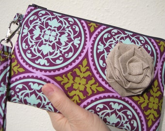 Wedding Clutch 2 pockets, cotton,, makeup, travel, medium, purple  - Scrollwork in Lilac