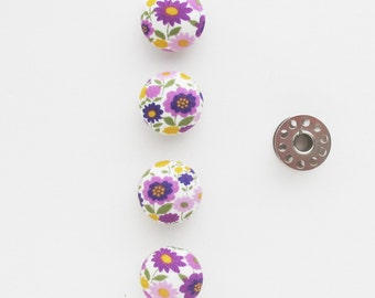 Purple Floral Fabric Covered Buttons 22mm | 4 shank back buttons to use for sewing clothing, hair ties, packaging, etc.