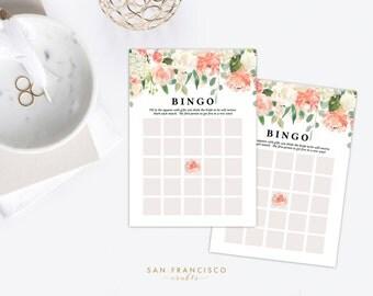 Bridal Shower BINGO Game - Printable, PDF file - Peach, Coral, Watercolor Floral - Instant Download