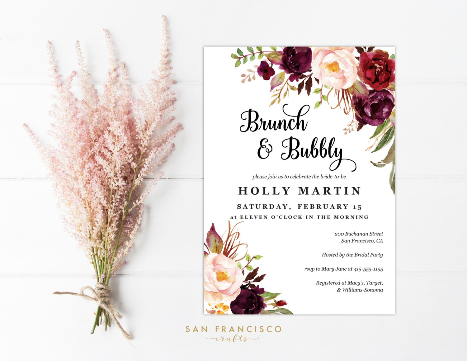 brunch and bubbly invitation printable invite template. Black Bedroom Furniture Sets. Home Design Ideas