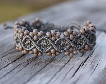 Micro-Macrame Beaded Bracelet - Grey