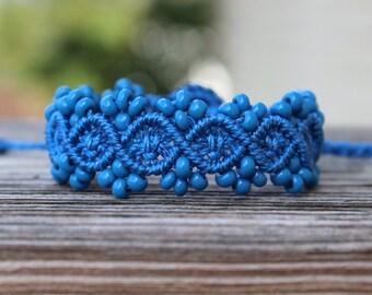 Micro-Macrame Beaded Bracelet - Denim