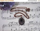Black Friday Sale Mini Bat Cameo Necklace | Electroformed Pendant | Black Onyx Cab | Halloween Jewelry | Creepy Cute Pendant | Goth | Gift f