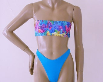 80s Thong Bikini Bottom Swimsuit with High Leg and Strapless Bandeau Top in Skyline Print and Turquoise