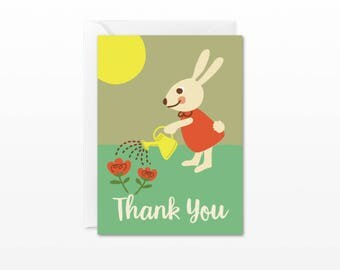 Thank You Mini Card - Gift Enclosure Card - Garden Bunny Rabbit - Thanks Card