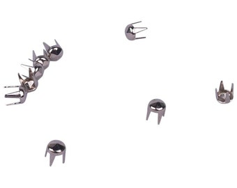 Silver Round Pyramid Metal Studs - 3mm - 500 Pieces (MS3SRPD2-500)