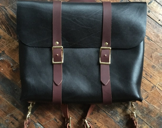 Rucksack briefcase in black and cherry