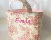 Monogrammed Personalized Easter Basket Pink Blue Central Park Toile Handmade Bin Storage Diaper Caddy Nursery Dec