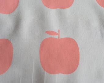 Fabric panel - Apples in pale pink ink on light grey cotton-linen quilting weight fabric. Textiles designed and screen printed in Melbourne.