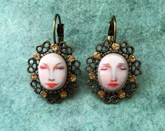 Mirror Mirror on the Wall Altered Art Earrings