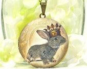 Gray Rabbit Locket King of Bunny Love - Bunny Pendant - Bunny Locket - Pet Bunny Rabbit Necklace - Rabbit Jewelry - Woodland Animal - Gift