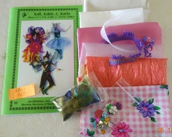 "PATTERN for 3 Fairies, Elves, KIT, Supplies to make KALI, 11"" (28 cm) Tutorial, Doll making, Cloth Dolls, Workshop, Michelle Munzone, kids"