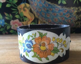 Peach floral vintage tin leather cuff