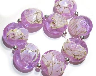 Handmade Glass  Lampwork Beads Lavender Shard SRA Lentils