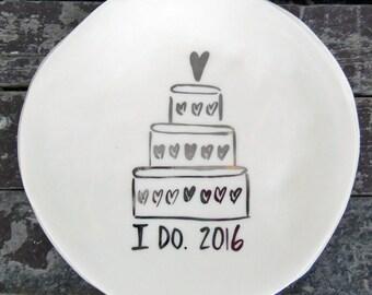 2016 Wedding Dessert Plate w Hearts (SALE)