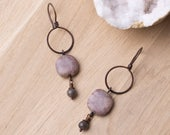 Copper earrings - Picasso Jasper and Larvikite stone copper hoop earrings | Jasper earrings | Stone jewellery | Copper jewelry | Rustic boho
