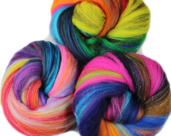 Gemmy Batts --  (4 oz.) merino wool and silver holographic sparkle -- A Hobbledehoy Fibers Exclusive