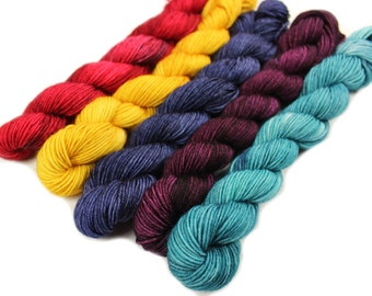 Library Magic - Hobbledehoy Hand-dyed mini fingering weight skeins - 450 yards, 120 gm