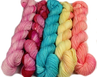 Vintage Valentine - Hobbledehoy Hand-dyed mini fingering weight skeins - 450 yards, 120 gm