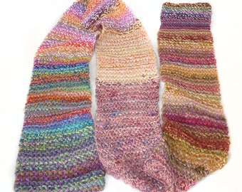 Handknit patchwork scarf made with handspun luxury yarn - READY TO SHIP