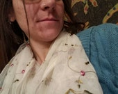 Upcycled Floral and Sheer Curtain turned Infinity Cowl Scarf