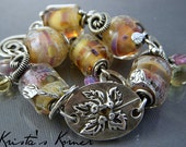Sterling Silver Wire, Boro Lampwork & PMC Gemstone Leaf Focal Link Bracelet