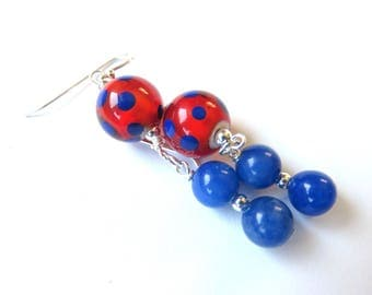 Polka Dot Earrings, Blue Jade and Glass Beads, Modern Gemstone Jewelry, Fun Fashion Earrings, Round Ball Drops. Unique Gift for Her