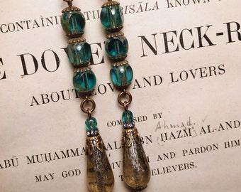 Long Aqua and Mercury Antique Brass Art Deco Vintage Inspired Drop Earrings