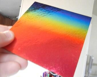 4 x 4 inch Rainbow 90 COE Dichroic Thin Black Sheet Design 2