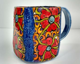 Large square red flower mug