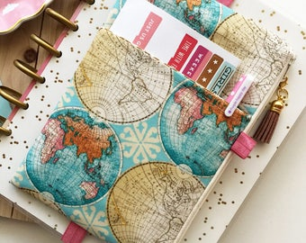 World map print - planner cover - map planner pouch - pocket planner pouch - world map bag - map pencil pouch - BUJO journal cover - map