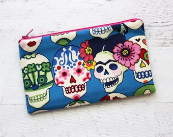 Frida Kahlo inspired pencil pouch - sugar skull bag - skull pouch - school bag  - planner pouch - planner accessory - day of the dead