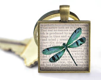 Dragonfly on Dictionary Print Pendant, Necklace or Key Chain - 1 Inch Square - Choice of Silver, Bronze, Copper or Black Bezel