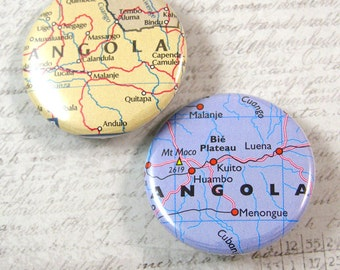Angola Map Pinback Button Set