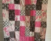 Closing Sale Fleur-de-lis  Baby Quilt - pink, magenta, black, grey, cream 317
