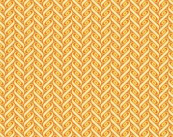 Joel Dewberry Heirloom Fabric / Ribbon Lattice in Amber Orange White JD47/  1/2 Yard Cotton, Quilting Apparel Fabric / OOP / End of Bolt