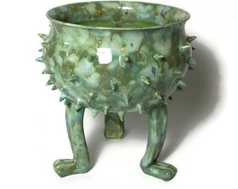 Ceramic Planter - Succulent Pot -Grouchy Pot with Spikes - Planter Pot with Sculpted Feet and Spikes