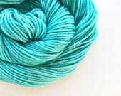 atlantic / hand dyed yarn / fingering sock dk bulky yarn / super wash merino wool yarn / single or ply / choose your base / light green yarn