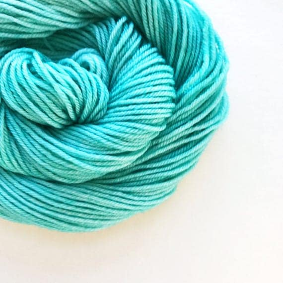 atlantic hand dyed yarn fingering sock dk bulky yarn super wash merino wool yarn single or ply. choose your base. pale blue green yarn