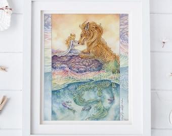 Strength tarot art print, Dragon print, Lion, Strength, Lion, Sea serpent, Art Nouveau, love and compassion 8x10