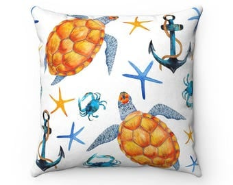 Sea Turtle Throw Pillow, Decorative Pillow, Decorative Throw Pillow, Indoor Pillow, Beach Theme Pillow, Gift for mom, Beach House Pillow