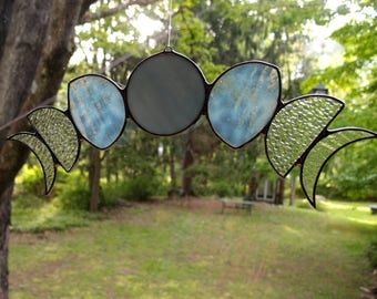 Moon Phases Stained Glass Sun Catcher - An Original Drawing in White Textured Art Glass - Boho Chic Home Decor, Renter Friendly