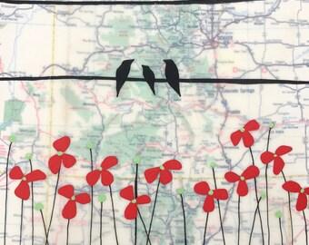 Denver / 7 x 8 Map Painting / Colorado Art / Map Art / Modern Decor / Bird Art / Rachel Austin Art