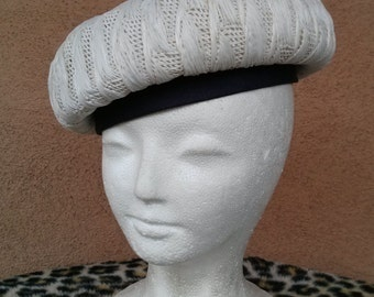 Vintage 1960s Hat Mod Beret Raffia Bubble Nautical Style Straw Hat