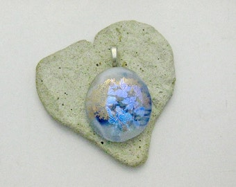 Fused Dichroic Glass Pendant - Blue Purple Pink Dichroic on Gold